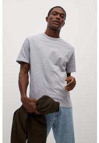 Szary t-shirt Mango Man gładki