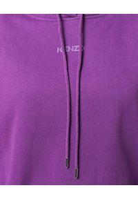 Kenzo - KENZO - Fioletowa bluza z kapturem. Typ kołnierza: kaptur. Kolor: różowy, wielokolorowy, fioletowy. Długość rękawa: długi rękaw. Długość: długie. Wzór: nadruk. Styl: klasyczny