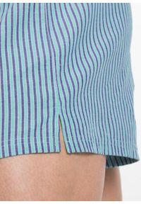 Bokserki z tkaniny (3 pary) bonprix zielony karaibski + bez + kobaltowy w paski. Kolor: niebieski. Materiał: tkanina. Wzór: paski