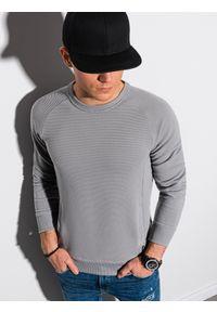 Ombre Clothing - Bluza męska bez kaptura B1156 - szara - XXL. Typ kołnierza: bez kaptura. Kolor: szary. Materiał: dzianina, dresówka, jeans, poliester, bawełna