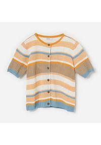 Reserved - Rozpinany sweter w paski - Żółty. Kolor: żółty. Wzór: paski