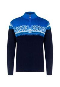 Niebieski sweter Dale of Norway ze stójką