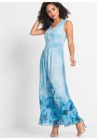 Sukienka letnia w kwiaty bonprix lodowy niebieski w kwiaty. Kolor: niebieski. Wzór: kwiaty. Sezon: lato