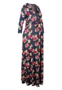 Sukienka shirtowa ciążowa i do karmienia piersią bonprix niebieski w kwiaty. Kolekcja: moda ciążowa. Kolor: niebieski. Wzór: kwiaty