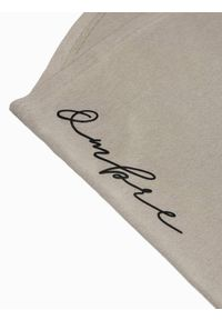 Ombre Clothing - T-shirt męski bawełniany z nadrukiem S1387 - popielaty - XXL. Kolor: szary. Materiał: bawełna. Wzór: nadruk