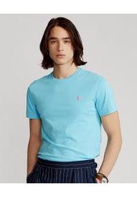 Ralph Lauren - RALPH LAUREN - Niebieski t-shirt Custom Slim Fit. Typ kołnierza: polo. Kolor: niebieski. Materiał: bawełna. Wzór: haft