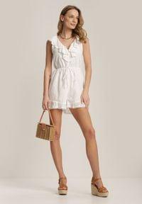 Renee - Biały Kombinezon Aethinix. Kolor: biały. Materiał: bawełna, tkanina. Długość rękawa: na ramiączkach. Długość: krótkie. Wzór: haft, aplikacja
