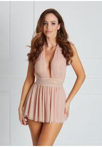Saintmiss - Sukienkowa koszula nocna // Annette - Uniwersalny, Różowy. Kolor: różowy. Materiał: tiul, koronka, materiał. Długość: krótkie
