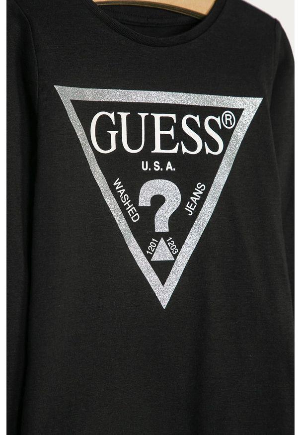 Czarna bluzka z długim rękawem Guess Jeans na co dzień, z nadrukiem, casualowa, z okrągłym kołnierzem
