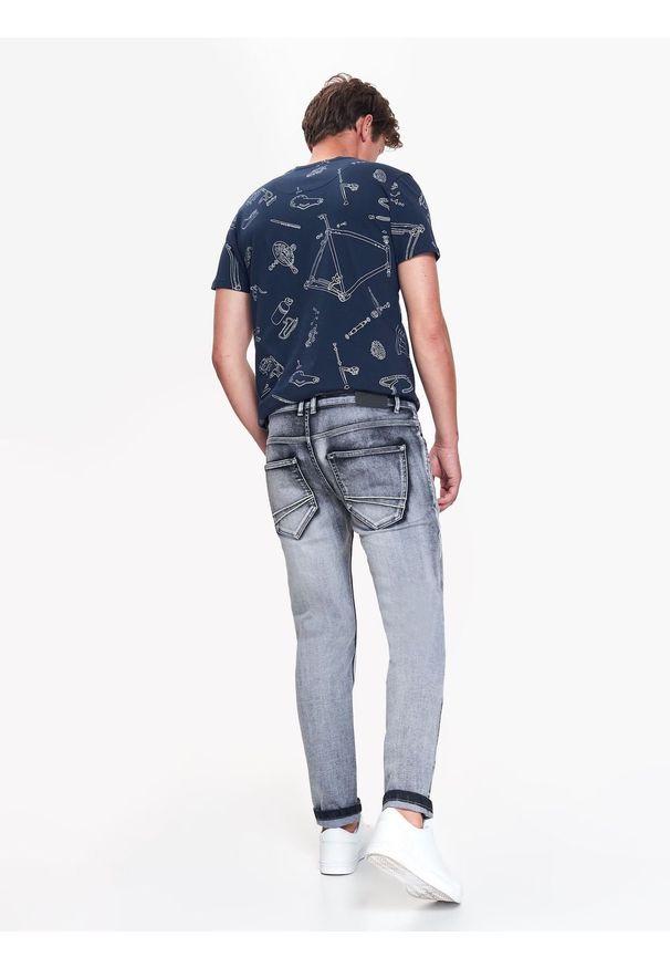 Szare spodnie TOP SECRET w kolorowe wzory, na co dzień, na jesień, casualowe