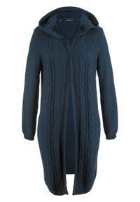 Niebieski sweter bonprix długi, z kapturem
