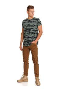 Brązowy t-shirt TOP SECRET z krótkim rękawem, z aplikacjami, krótki