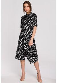 e-margeritka - Sukienka wiskozowa midi z falbaną - xl, czarny. Typ kołnierza: kołnierzyk stójkowy. Kolor: czarny. Materiał: wiskoza. Typ sukienki: asymetryczne, rozkloszowane. Długość: midi