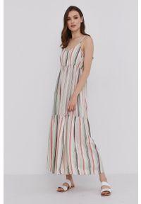 Answear Lab - Sukienka. Kolor: beżowy. Materiał: tkanina. Długość rękawa: na ramiączkach. Typ sukienki: rozkloszowane. Styl: wakacyjny