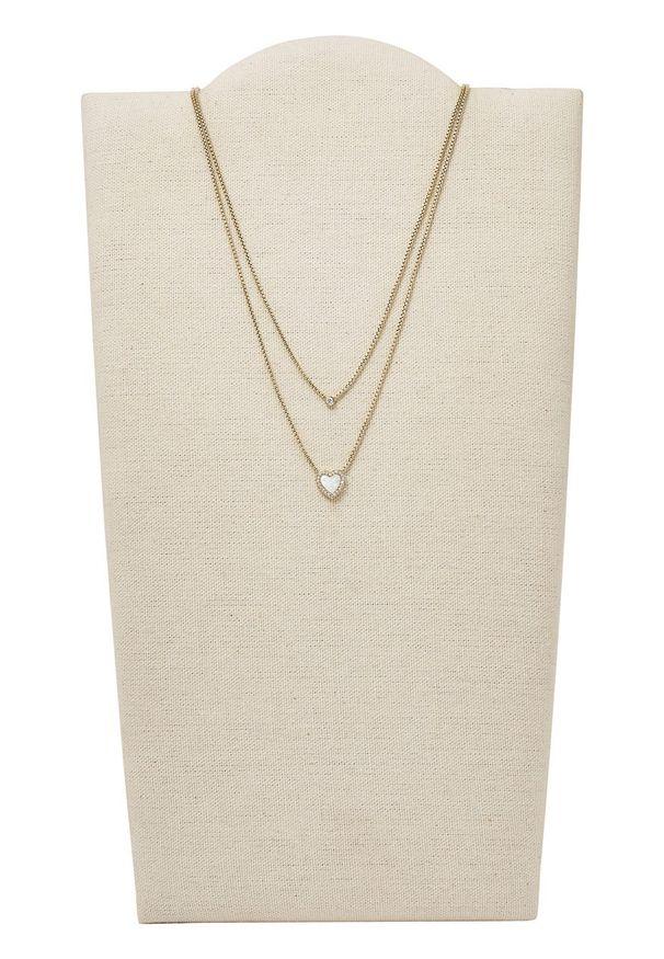 Srebrny naszyjnik Fossil z perłą, z aplikacjami, ze stali szlachetnej