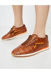 KENNEL&SCHMENGER - Skórzane sneakersy z kontrastową podeszwą. Kolor: brązowy. Materiał: skóra