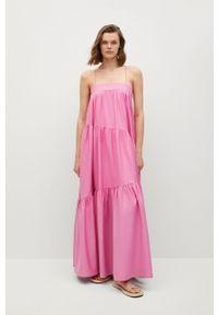mango - Mango - Sukienka PARACHUT. Kolor: różowy. Materiał: materiał, bawełna. Długość rękawa: na ramiączkach. Typ sukienki: rozkloszowane