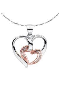 Braccatta - ANAIS Srebrny naszyjnik serce różowe złoto cyrkonie. Materiał: srebrne, złote. Kolor: srebrny, złoty, różowy, wielokolorowy. Wzór: ze splotem, aplikacja. Kamień szlachetny: cyrkonia