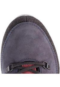 Niebieskie buty trekkingowe Nik na płaskiej podeszwie, z cholewką