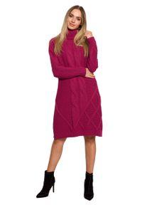 MOE - Swetrowa Sukienka z Golfem w Warkocze - Różowa. Typ kołnierza: golf. Kolor: różowy. Materiał: poliamid, akryl