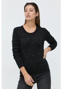 Trussardi Jeans - Trussardi - Sweter wełniany. Kolor: czarny. Materiał: wełna. Długość rękawa: długi rękaw. Długość: długie