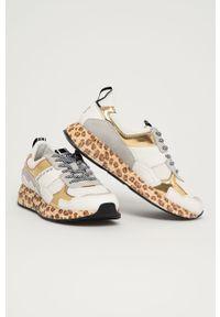 Białe sneakersy MOA Concept z cholewką, na sznurówki, na średnim obcasie