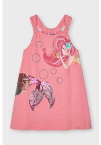 Różowa sukienka Mayoral z aplikacjami, mini, na ramiączkach, rozkloszowana
