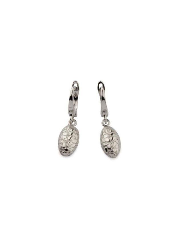 Polcarat Design - Srebrne rodowane kolczyki płatki w owalu (wiszące) K 1853. Materiał: srebrne. Kolor: srebrny. Wzór: kwiaty