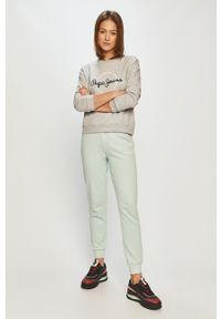 Szara bluza Pepe Jeans z długim rękawem, na co dzień, bez kaptura, z nadrukiem