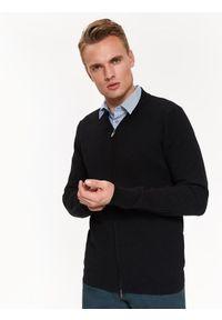 TOP SECRET - Sweter rozpinany typu bomber. Okazja: na co dzień. Kolor: czarny. Materiał: prążkowany, dzianina. Sezon: jesień, zima. Styl: elegancki, casual