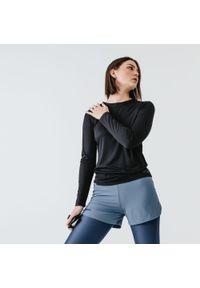 KALENJI - Koszulka do biegania z długim rękawem damska Kalenji Run Sun Protect. Kolor: czarny. Materiał: poliester, materiał. Długość rękawa: długi rękaw. Długość: długie. Sport: bieganie