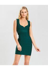 HERVE LEGER - Zielona sukienka mini. Kolor: zielony. Materiał: tkanina. Typ sukienki: dopasowane. Długość: mini