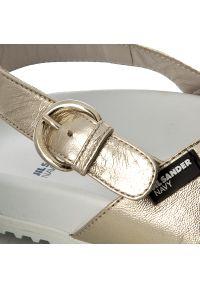 Złote sandały Jil Sander Navy casualowe, na co dzień