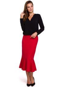 Czarna bluzka z długim rękawem MAKEOVER elegancka, z kopertowym dekoltem