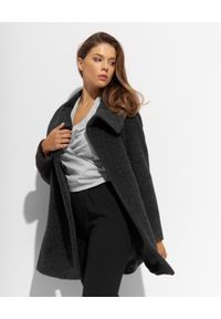 CINZIA ROCCA - Ciemnoszary płaszcz z wełny alpaki. Kolor: szary. Materiał: wełna