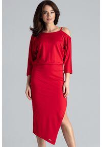 Lenitif - Asymetryczna sukienka z kimonowym rękawem czerwona. Okazja: na co dzień. Kolor: czerwony. Materiał: tkanina. Typ sukienki: asymetryczne. Styl: casual