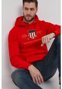 GANT - Gant - Bluza. Okazja: na co dzień. Kolor: czerwony. Wzór: aplikacja. Styl: casual