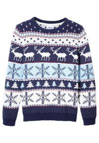Niebieski sweter bonprix w prążki