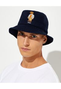 Ralph Lauren - RALPH LAUREN - Granatowy kapelusz z misiem Chino Bucket. Kolor: niebieski. Materiał: bawełna. Wzór: haft