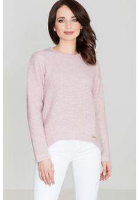 Różowy sweter asymetryczny Katrus z asymetrycznym kołnierzem