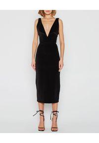 MARLU - Welurowa sukienka midi Kalina. Kolor: czarny. Materiał: welur. Typ sukienki: dopasowane. Styl: wizytowy. Długość: midi
