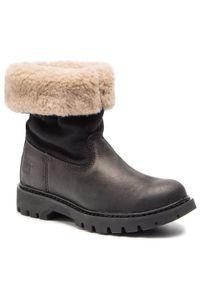 CATerpillar - Botki CATERPILLAR - Showcase Fur P310535 Black. Okazja: na spacer. Kolor: czarny. Materiał: skóra, nubuk, materiał. Szerokość cholewki: normalna. Sezon: zima, jesień. Obcas: na obcasie. Wysokość obcasa: średni