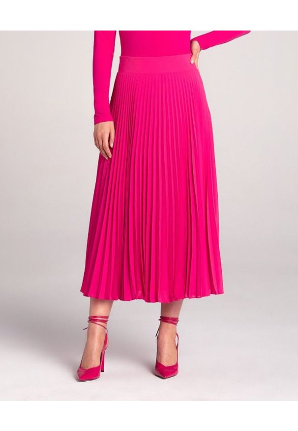 LA MANIA - Plisowana spódnica Lang w kolorze różowym. Kolor: wielokolorowy, różowy, fioletowy. Materiał: materiał