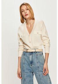 Biały sweter rozpinany Miss Sixty długi, z długim rękawem, gładki, klasyczny