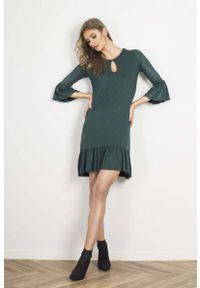 Zielona sukienka wizytowa IVON z falbankami