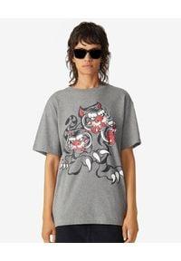 KENZO - Szary t-shirt z tygrysami Kenzo x Kansai Yamamoto. Kolor: szary. Materiał: bawełna. Wzór: nadruk, aplikacja. Styl: klasyczny