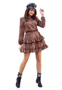 Numoco - Zwiewna Sukienka z Falbankami w Panterkę. Typ kołnierza: kołnierz z falbankami. Materiał: poliester, elastan. Wzór: motyw zwierzęcy