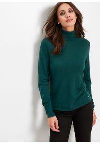 Zielony sweter bonprix z golfem