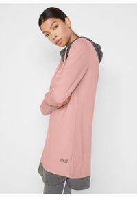 Długa bluza dresowa z legginsami (2 części) bonprix stary jasnoróżowy - szary melanż. Kolor: różowy. Materiał: dresówka. Wzór: melanż. Styl: retro. Długość: maxi
