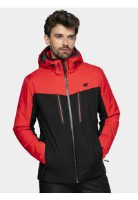 4f - Kurtka narciarska męska. Typ kołnierza: kaptur. Kolor: czerwony. Materiał: mesh, materiał, poliester. Sezon: zima. Sport: narciarstwo